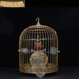 A Chinese Gild Bronze Cloisonne Enamel Birdcage