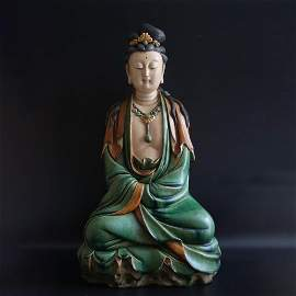 A Chinese Glazed Tile Guanyin Statue