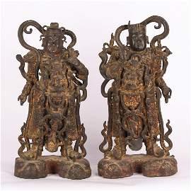 Chinese Bronze Standing Guardian Immortals, Pair
