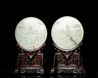 Chinese White Jade Plaque Table Screens, Pair