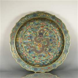 Chinese Cloisonne Dragon Charger, Marked