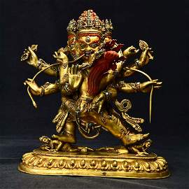 A Gild Bronze Statue of Three Sides of Vajra Happy