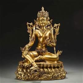 A Gild Bronze Statue of Lotus Hand Guanyin