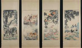 Chinese Set Of 4 Scroll Painting, Xu Beihong Mark