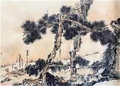 A CHINESE BIRD-AND-FLOWER PAINTING PAN TIANSHOU MARK