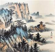 A CHINESE LANDSCAPE HANGING SCROLL PAINTING SONG