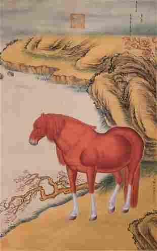 A CHINESE HORSE PAINTING LANG SHINING MARK