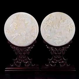 A PAIR OF LANDSCAPE FIGURE CARVED WHITE JADE TABLE