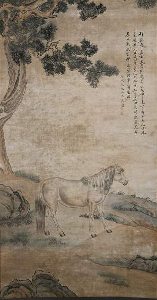 A CHINESE HORSE PAINTING MA JIN MARK