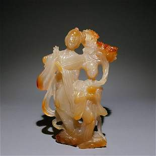 CHINESE AGATE CARVED LADY