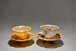 CHINESE AGATE CUPS AND SAUCERS, PAIR