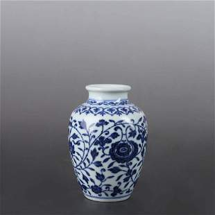A BLUE AND WHITE FLORAL PORCELAIN JAR