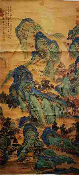 A CHINESE LANDSCAPE PAINTING SILK SCROLL TANG YIN MARK