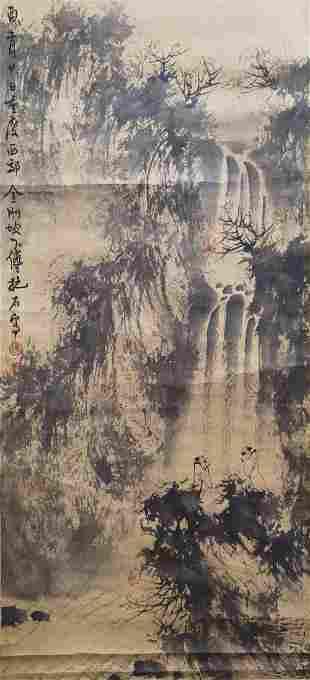 A CHINESE LANDSCAPE PAINTING SCROLL FU BAOSHI MARK