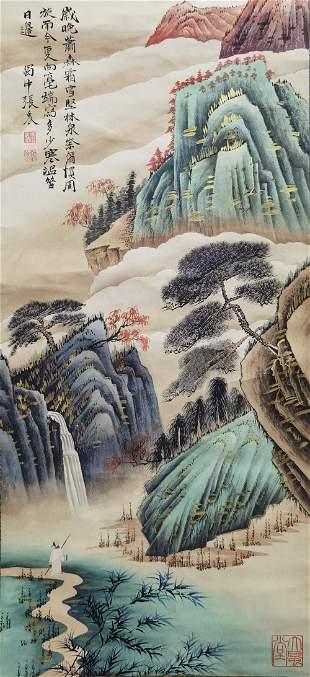 A CHINESE LANDSCAPE PAINTING SCROLL ZHANG DAQIAN MARK