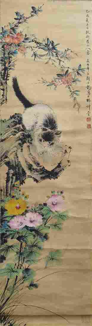A CHINESE FLOWERS&CAT PAINTING SCROLL YAN BOLONG MARK