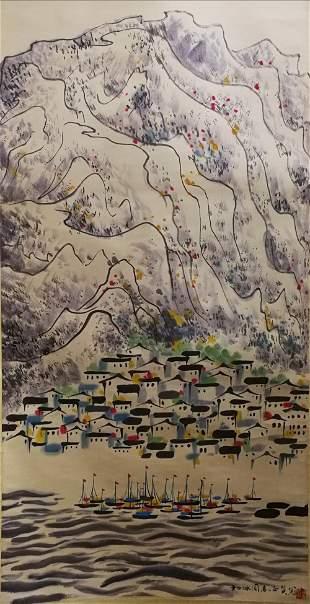 A CHINESE PAINTING SCROLL WU GUANZHONG MARK