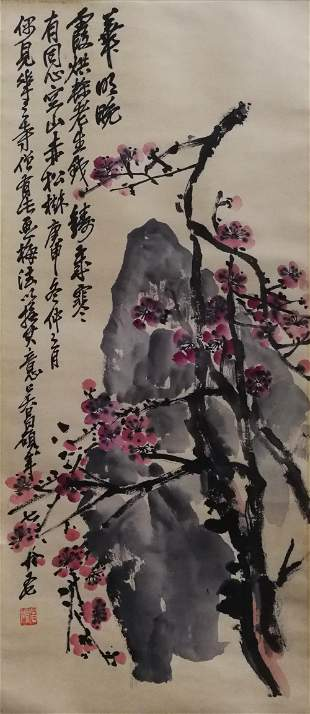 A CHINESE FLOWERS PAINTING SCROLL WU CHANGSHUO MARK