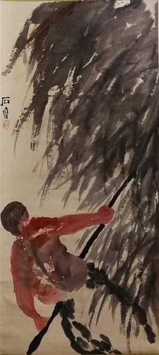 A CHINESE FIGURE PAINTING SCROLL SHI LU MARK