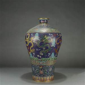 A DRAGON PATTERN CLOISONNE MEIPING VASE