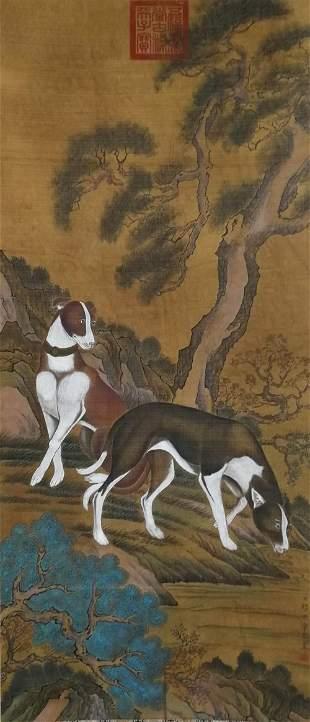 A CHINESE DOG PAINTING SILK SCROLL LANG SHINING MARK