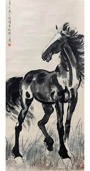 A CHINESE HORSE PAINTING XU BEIHONG MARK