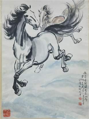 A CHINESE HORSE PAINTING SCROLL XU BEIHONG MARK