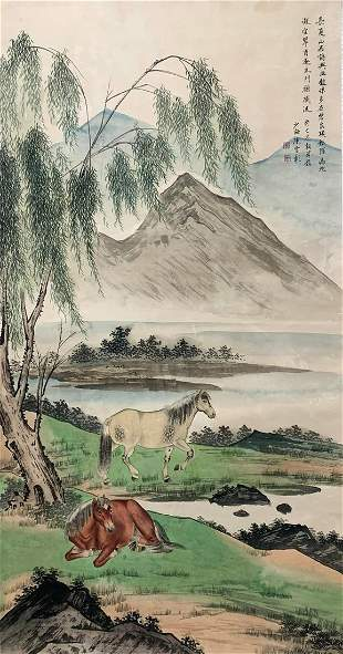 A CHINESE HORSE PAINTING CHEN SHAOMEI MARK