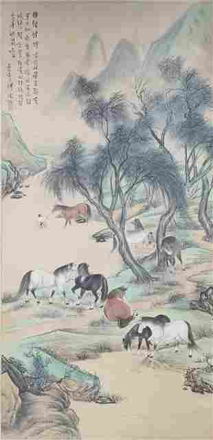 A CHINESE HORSE PAINTING SCROLL PU RU MARK