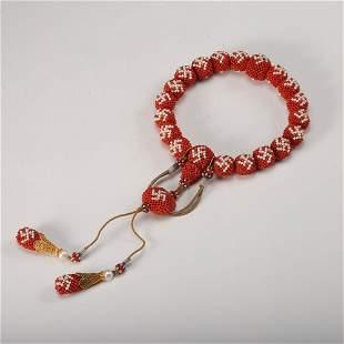 Chinese Coral Prayer Bead