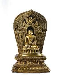 Chinese Gilt Bronze Seated Bhaisajyaguru