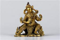 Chinese Gilt Bronze Seated Guardian, Qing Dynasty