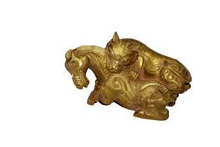 Chinese Gilt Bronze Beast Hunting
