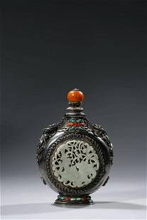Chinese White Jade Silver Snuff Bottle