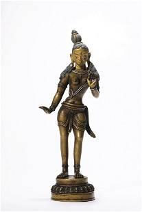Chinese Gilt Bronze Standing Guanyin