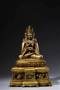 Chinese Gilt Bronze Seated Padmasambhava