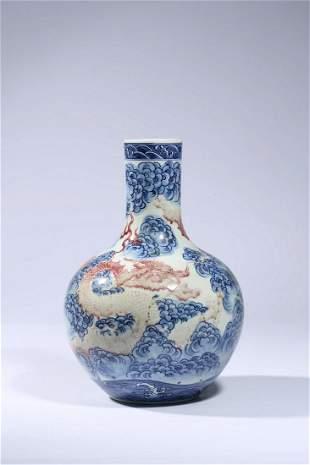 Chinese Blue White Iron Red Dragon Vase