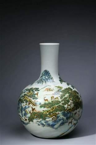 Chinese Famille Rose Porcelain Bottle Vase, Deer Scene