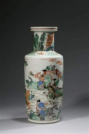 Chinese Famille Verte Porcelain Vase, Marked
