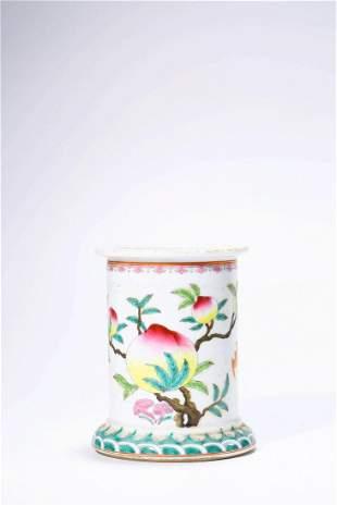 Chinese Famille Rose Porcelain Brush Pot, Marked