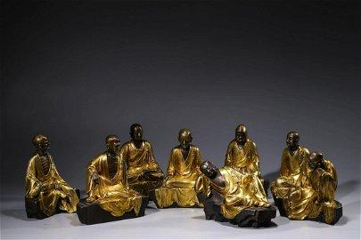 Chinese Set Of Bronze Lohan