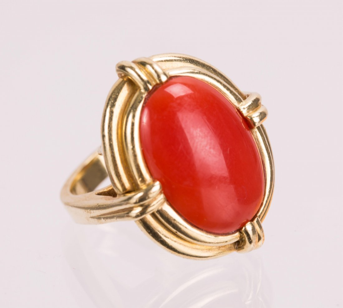 """RED CORAL ON """"CELLINO"""" 18K GOLD RING - 2"""