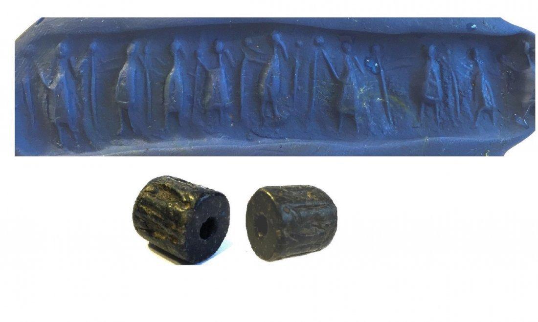 BABYLONIANÊBLACK STEATITE CYLINDER SEAL