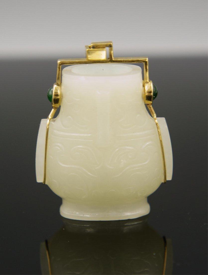 WHITE JADE VASE ON 18K GOLD PENDANT