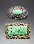 GROUP OF TWO CHINESE JADEITE BROOCHES