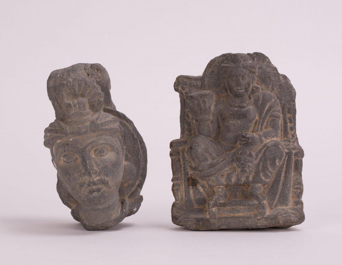 TWO PCS OF ANCIENT SCHIST GHANDARA HEAD