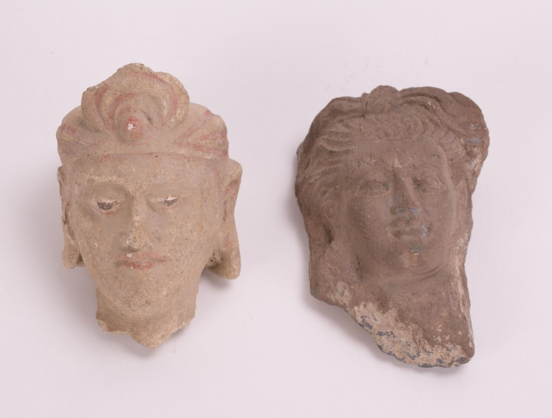 TWO PCS OF ANCIENT SCHIST GHANDARA