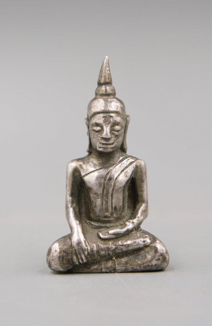 14TH C SILVER THAI BUDDHA