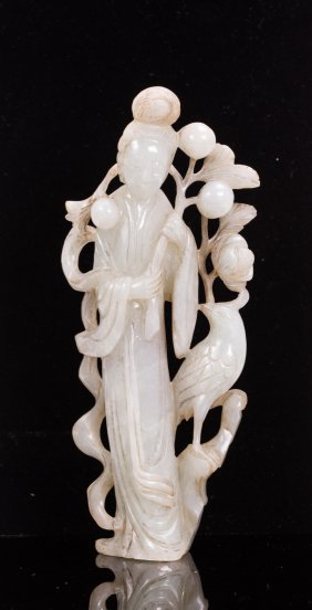 Chinese Jadeite Carved Beauty And Peacock