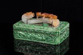 Chinese Jadeite Belt Hook On Enamel Box
